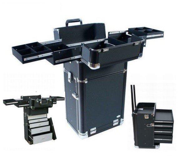NANI Dvojdielny kozmetický kufrík na kolieskach - Čierna