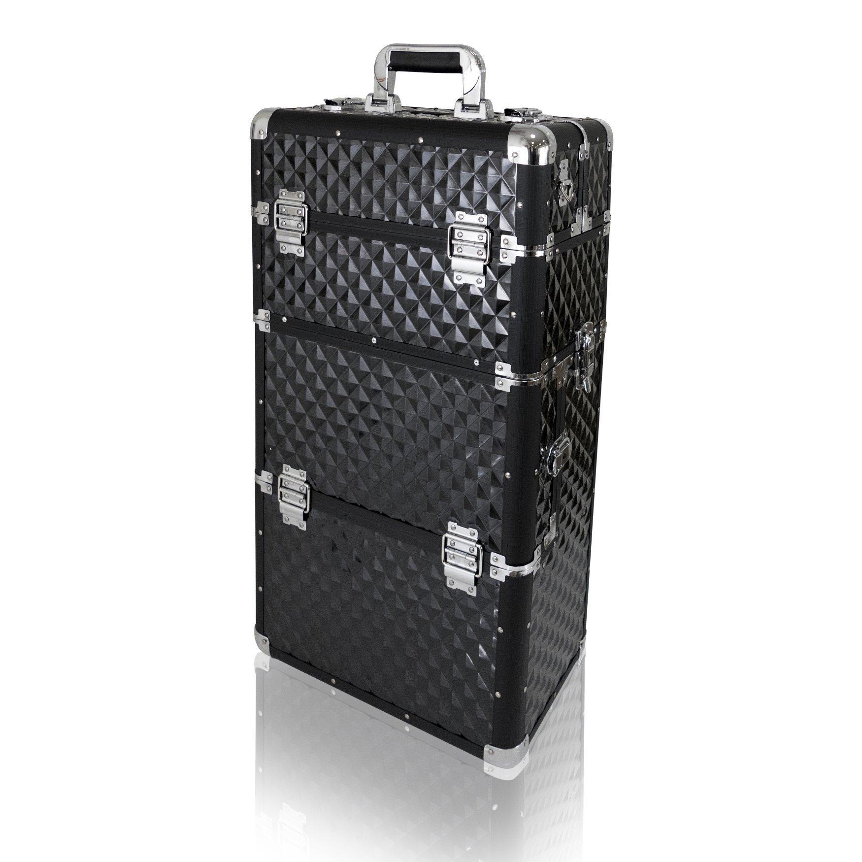 NANI dvojdielny kozmetický kufrík na kolieskach - Black 3D