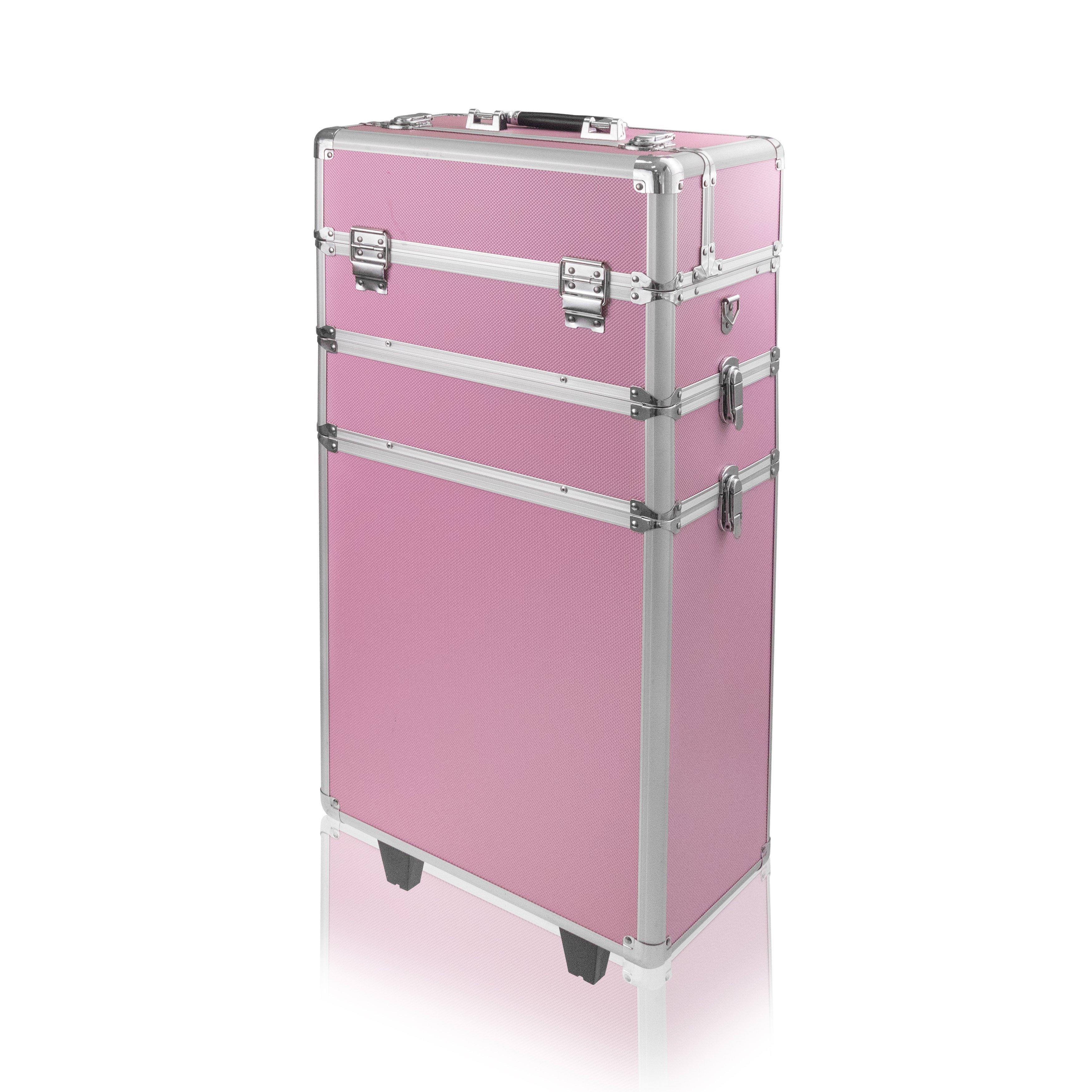 NANI trojdielny kozmetický kufrík na kolieskach - Pink