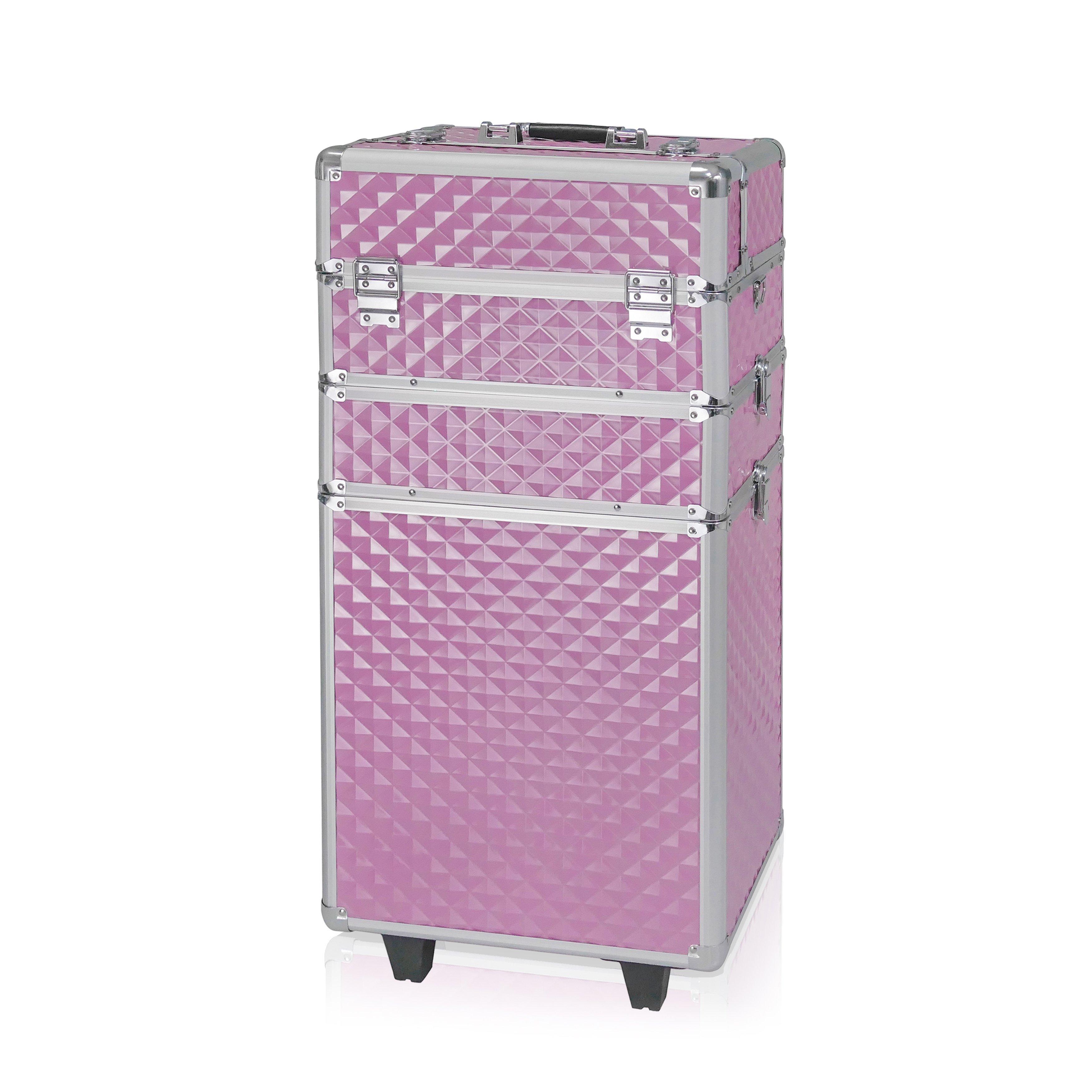 NANI trojdielny kozmetický kufrík na kolieskach - 3D Diamond Pink