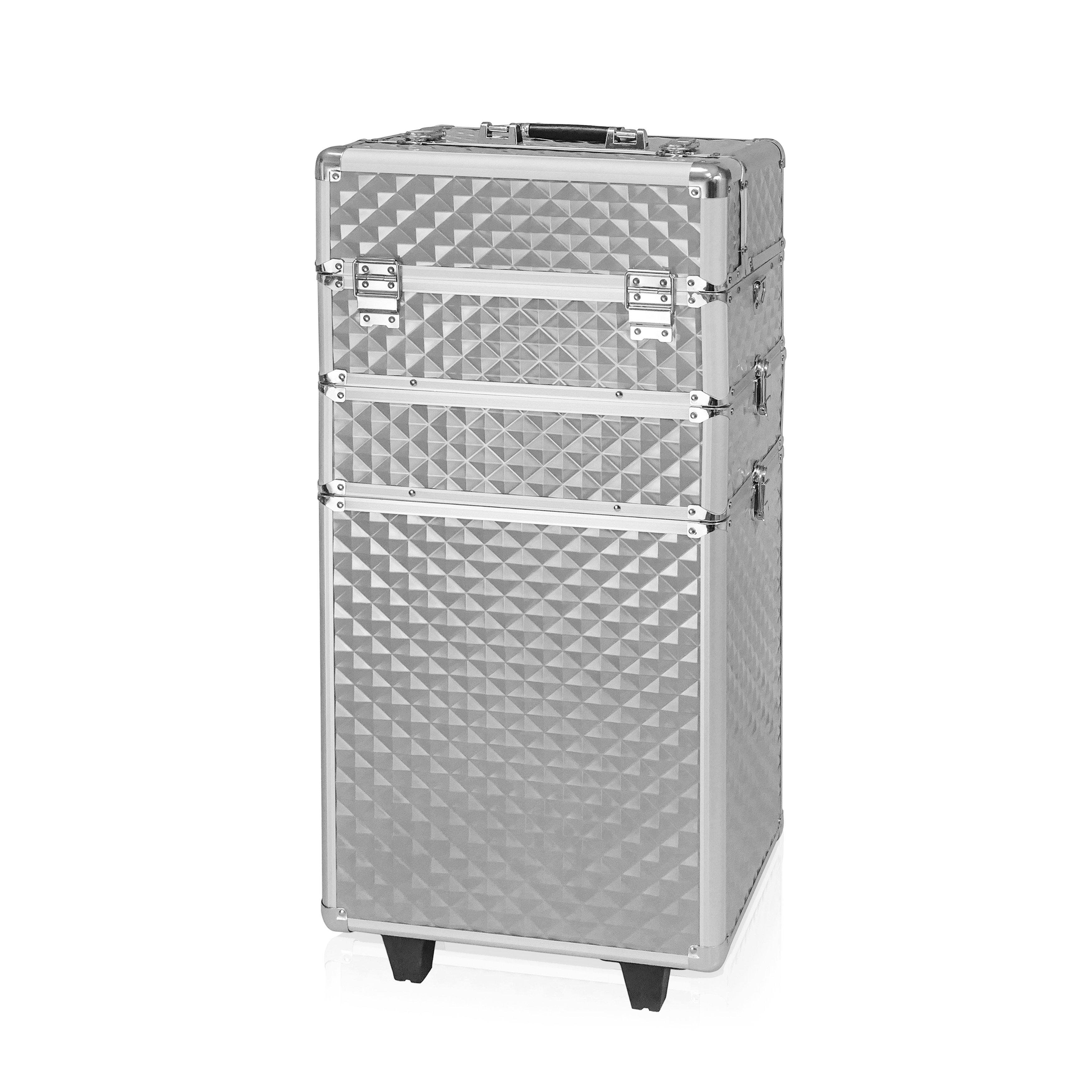 NANI trojdielny kozmetický kufrík na kolieskach - 3D Diamond Silver