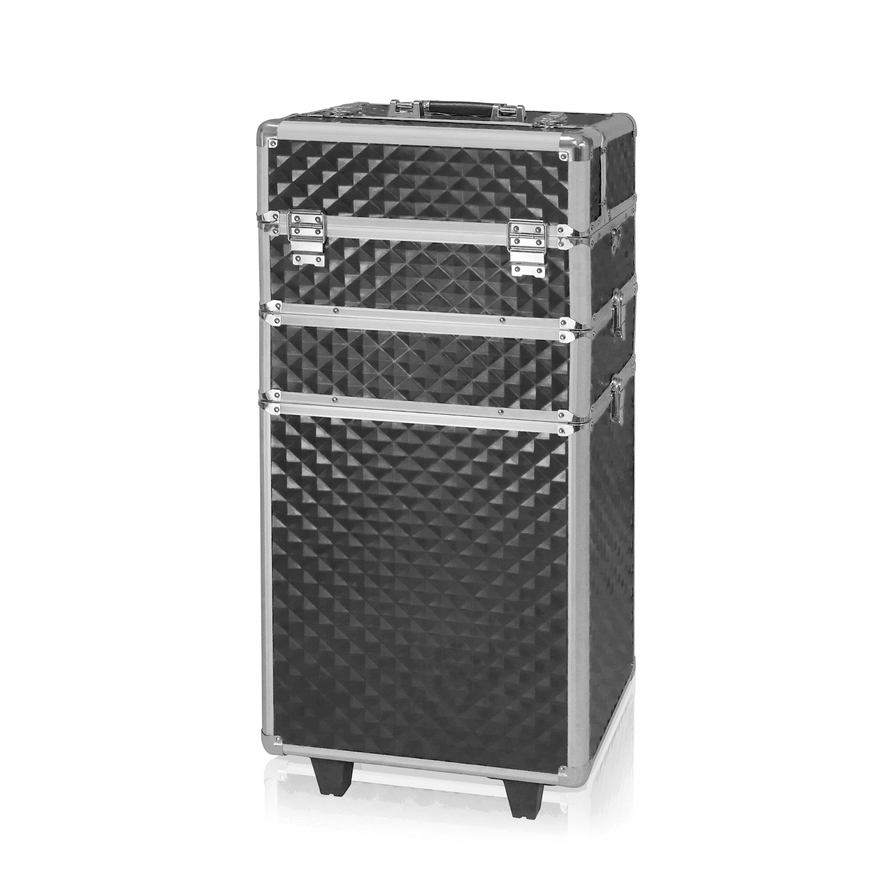 NANI trojdielny kozmetický kufrík na kolieskach - 3D Diamond Black