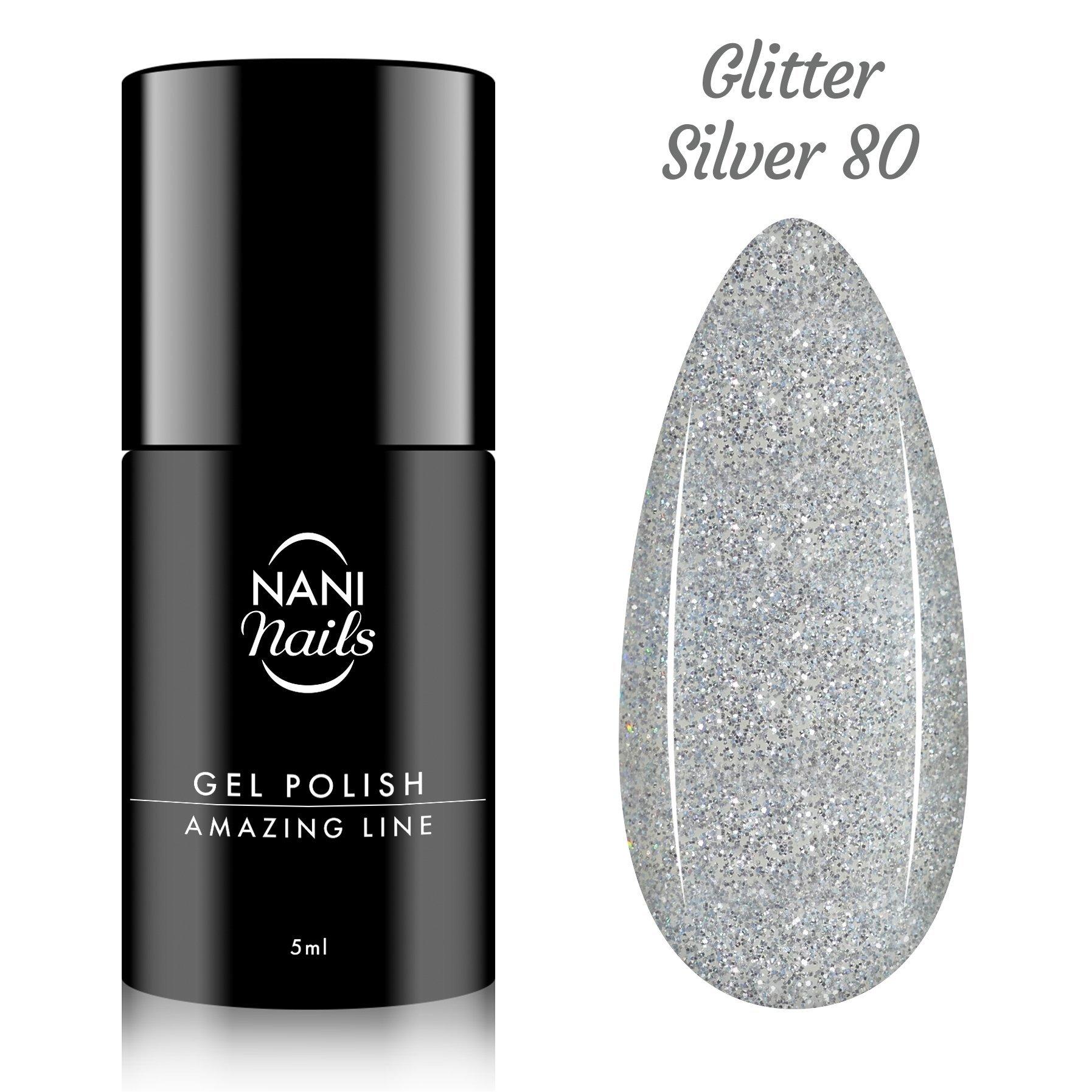 NANI gél lak Amazing Line 5 ml - Glitter Silver