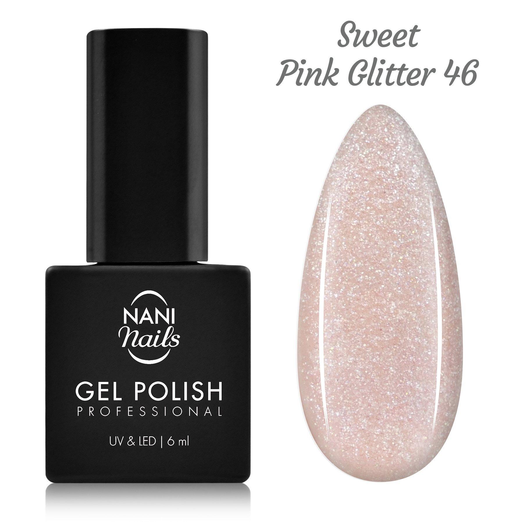 NANI gél lak 6 ml - Sweet Pink Glitter