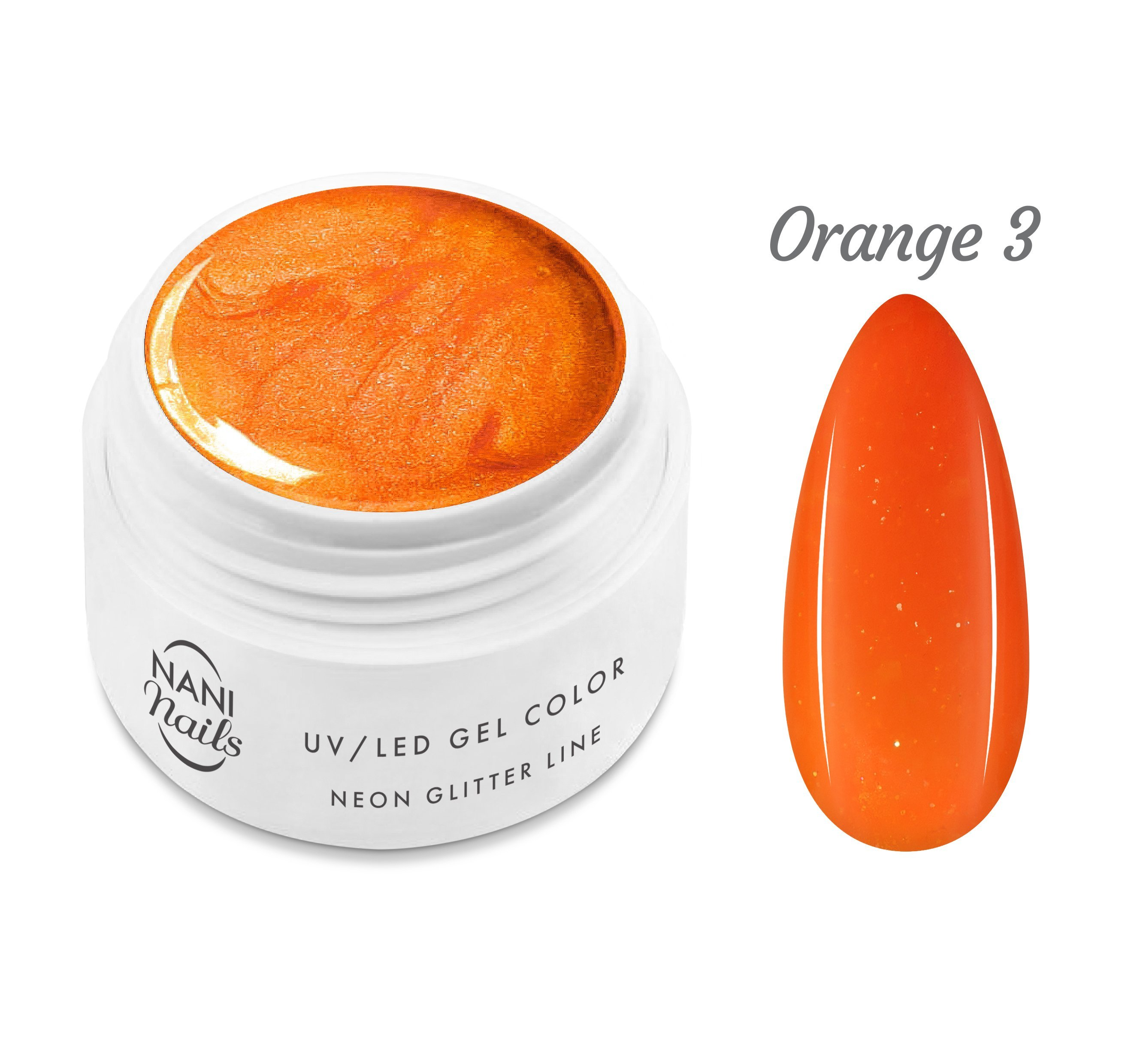 NANI UV gél Neon Glitter Line 5 ml - Orange