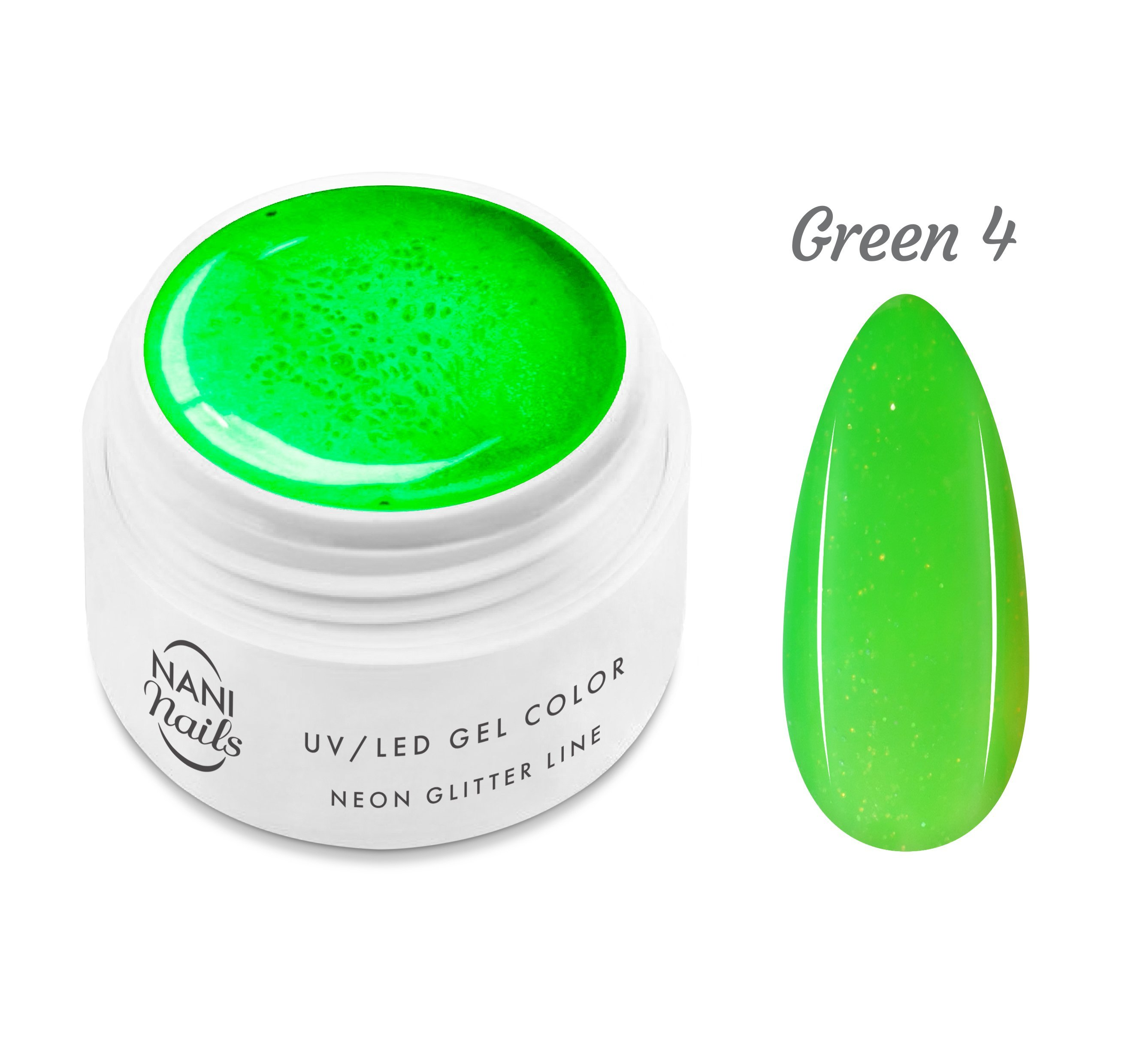 NANI UV gél Neon Glitter Line 5 ml - Green