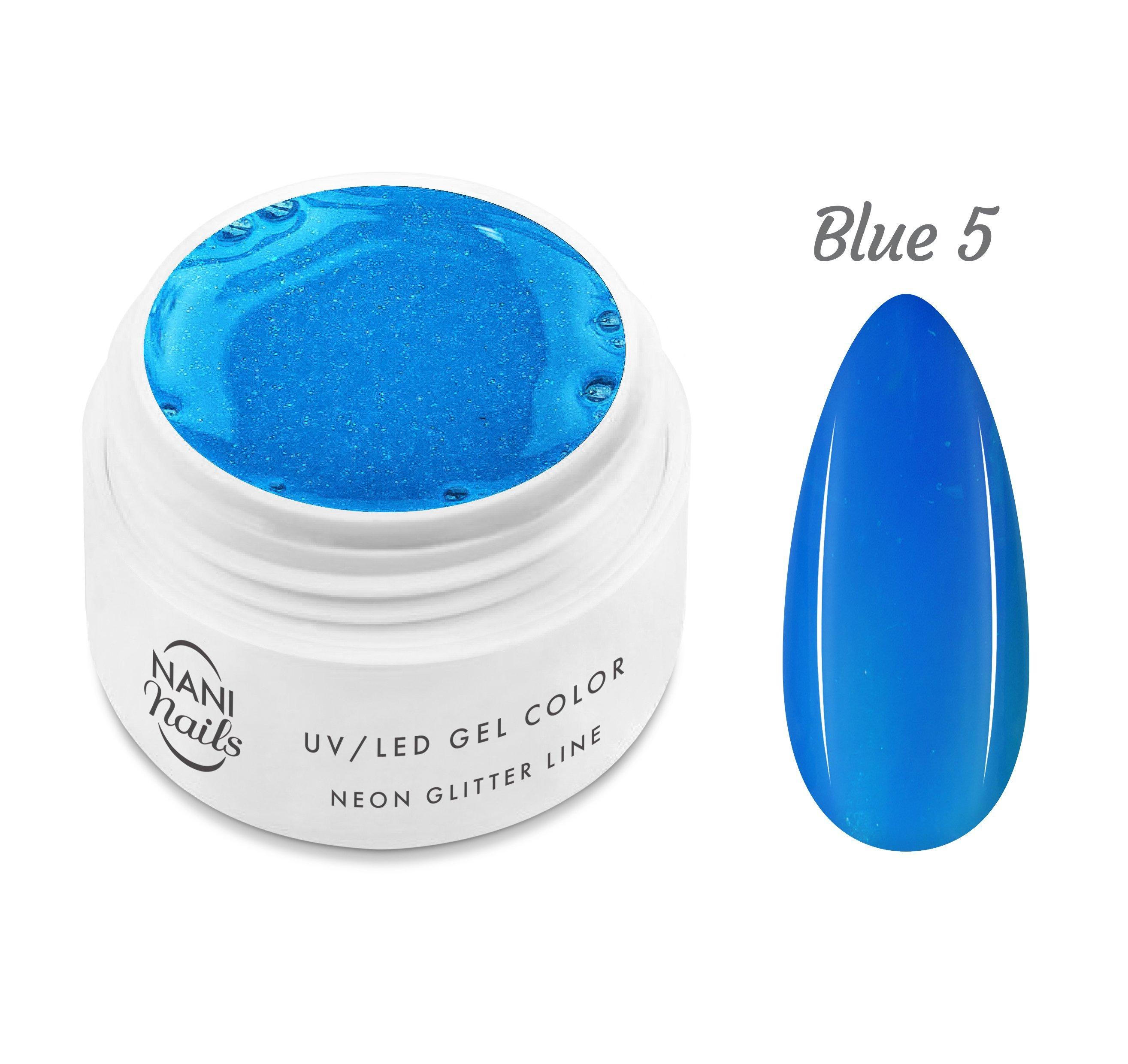 NANI UV gél Neon Glitter Line 5 ml - Blue