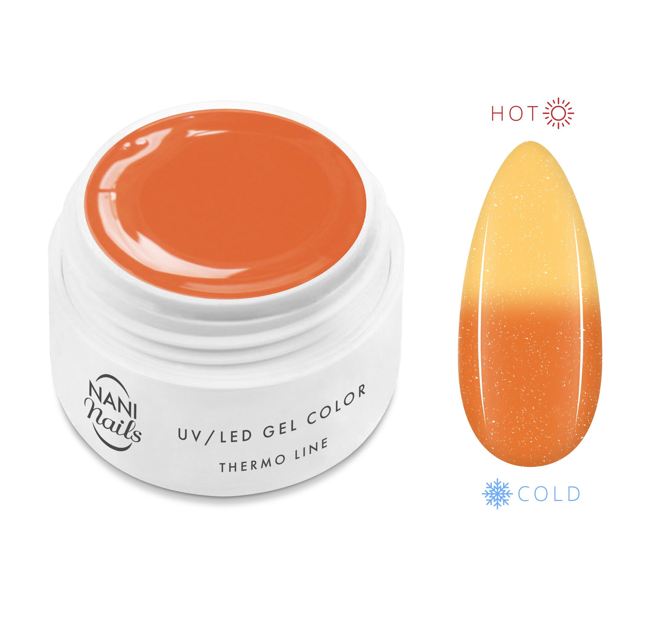 NANI termo UV gél 5 ml - Orange Yellow Glitter