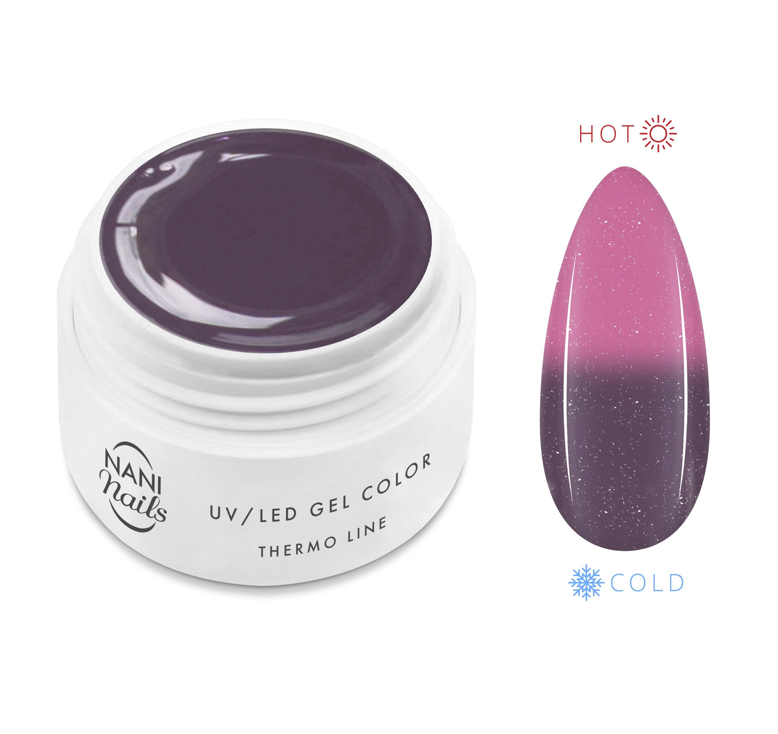 NANI termo UV gél 5 ml - Antracit Pink Glitter
