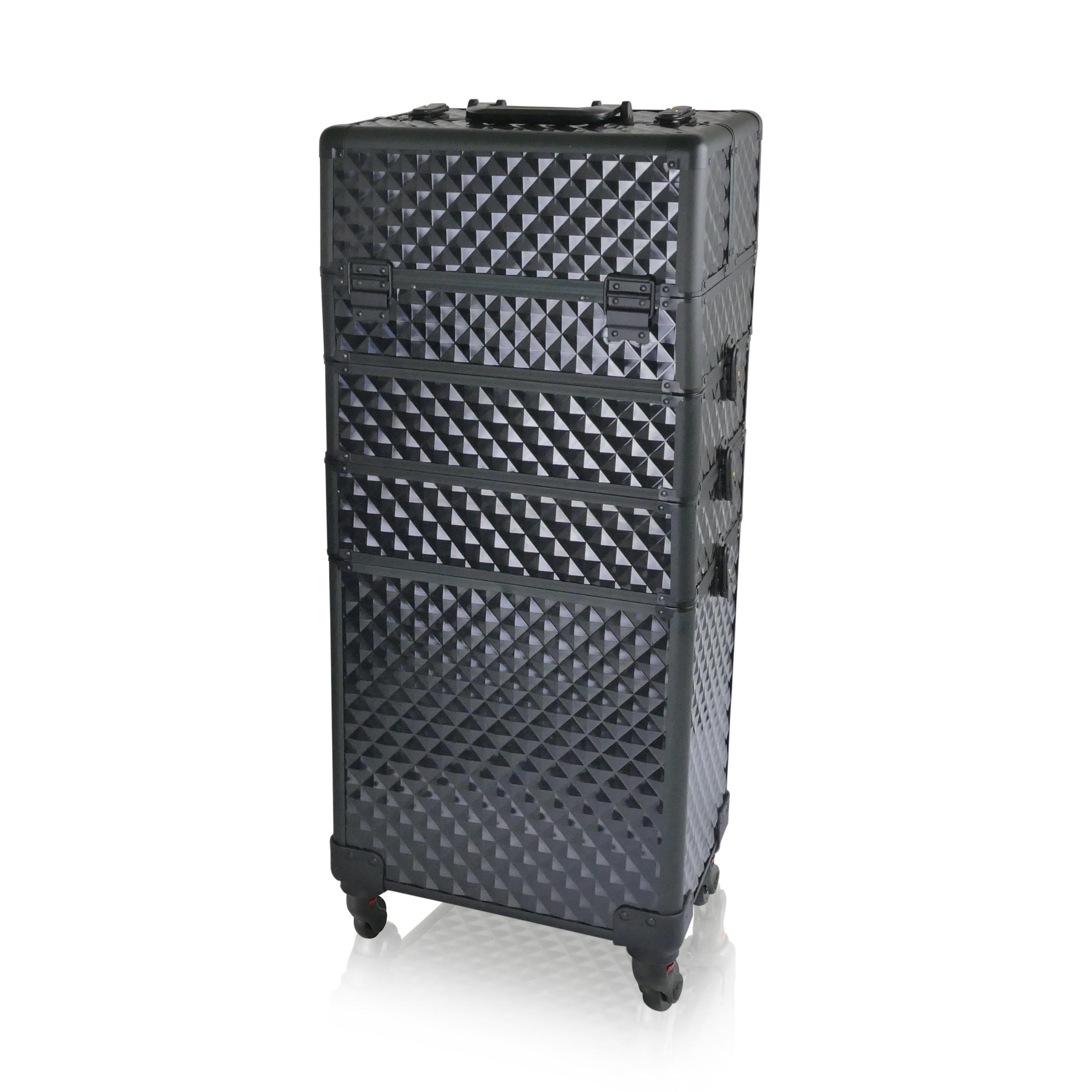 NANI štvordielny kozmetický kufrík na kolieskach - Diamond Black